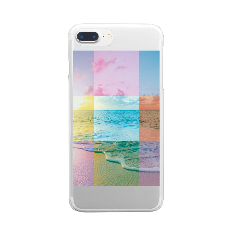 MARCHの浜辺のコラージュ Clear smartphone cases