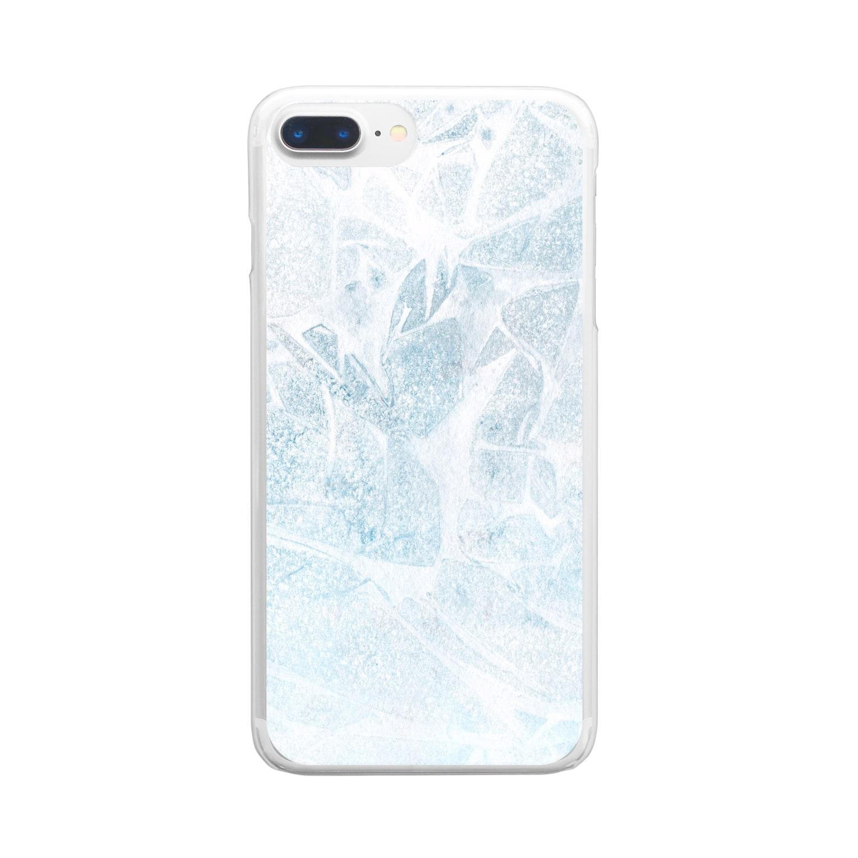 SANKAKU DESIGN STOREのひび割れた氷の湖。 Clear smartphone cases
