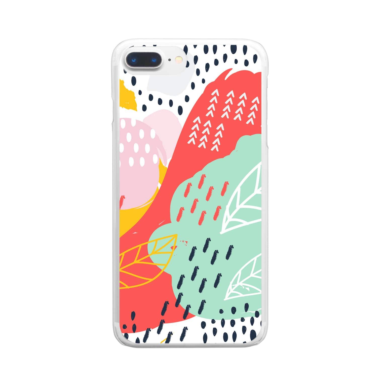 SANKAKU DESIGN STOREの南国fruitsモダンアート。 Clear smartphone cases