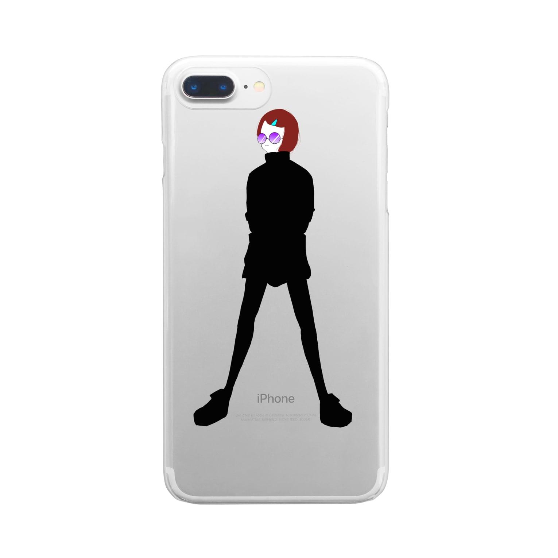 sora_meのサングラスちゃん Clear smartphone cases