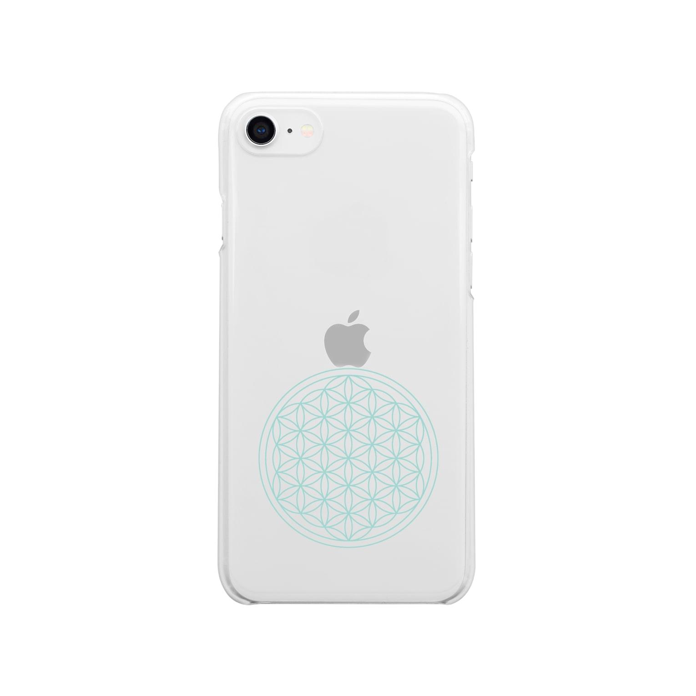 agehadouのフラワーオブライフ(aqua) Clear smartphone cases