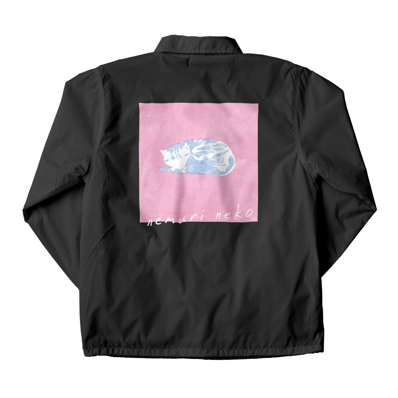 ねこのTシャツやさんの眠りネコ1 Coach Jacketの裏面