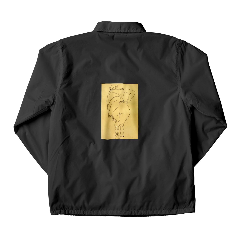 Art Baseのエゴン・シーレ / 1918 /Semi Nude, Back View / Egon Schiele Coach Jacket