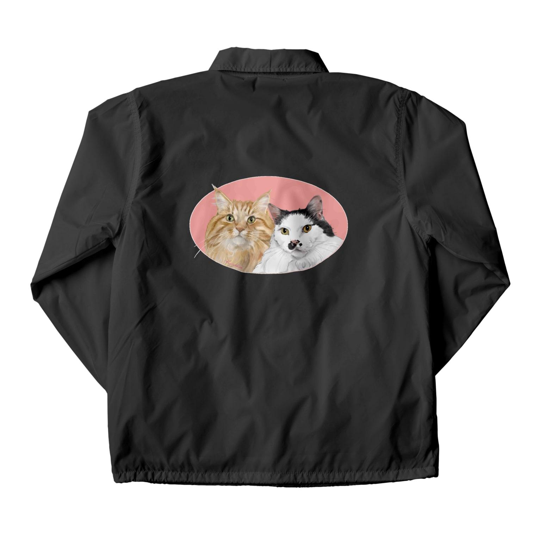kinako-japanの猫社長さん 猫専務さん ピンク Coach Jacket