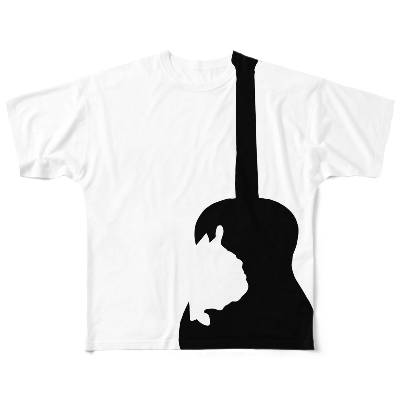 chicodeza by suzuriのフレンチブルドッグとギターのシルエット フルグラフィックTシャツ