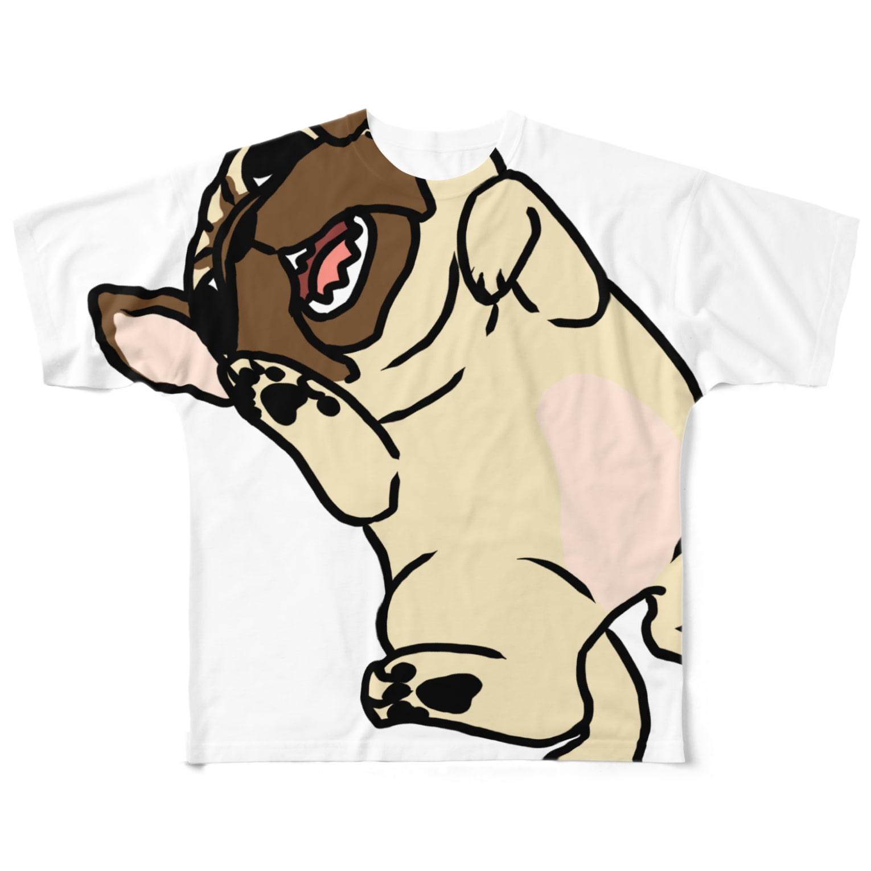 one-naacoのパグ(フォーン)Tシャツ Full graphic T-shirts