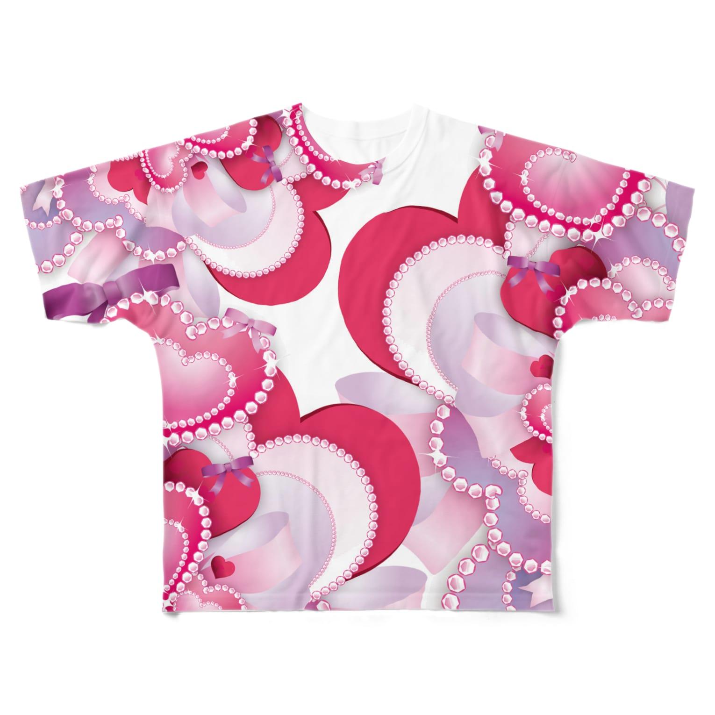 NOMAD-LAB The shopのピンク色の♡柄 Full graphic T-shirts