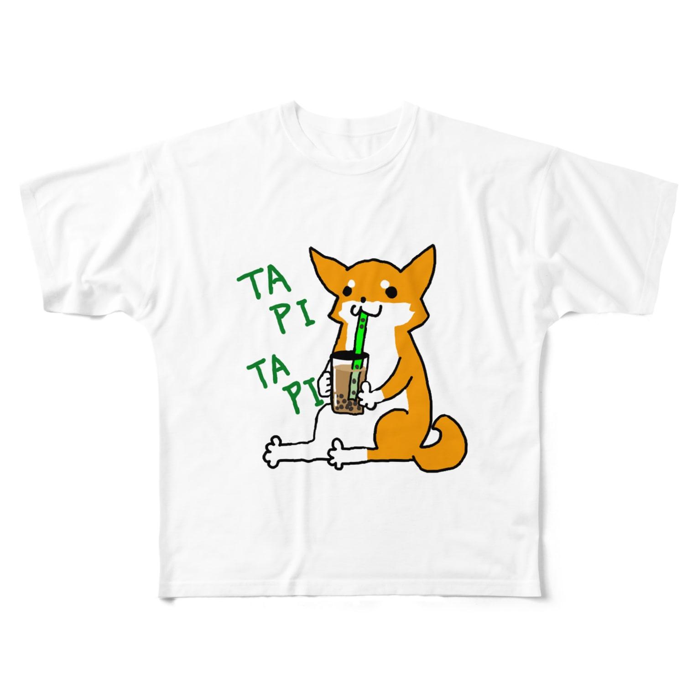 浅木愁太@LINEスタンプ販売中のタピタピ柴さん(赤柴) Full graphic T-shirts