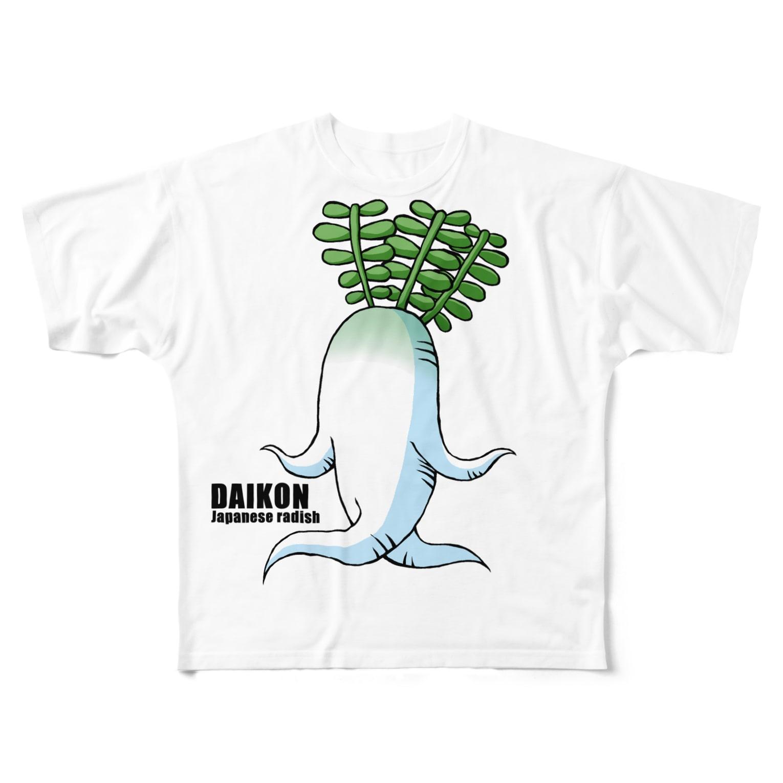 zukkyzukkyのDAIKON Full graphic T-shirts