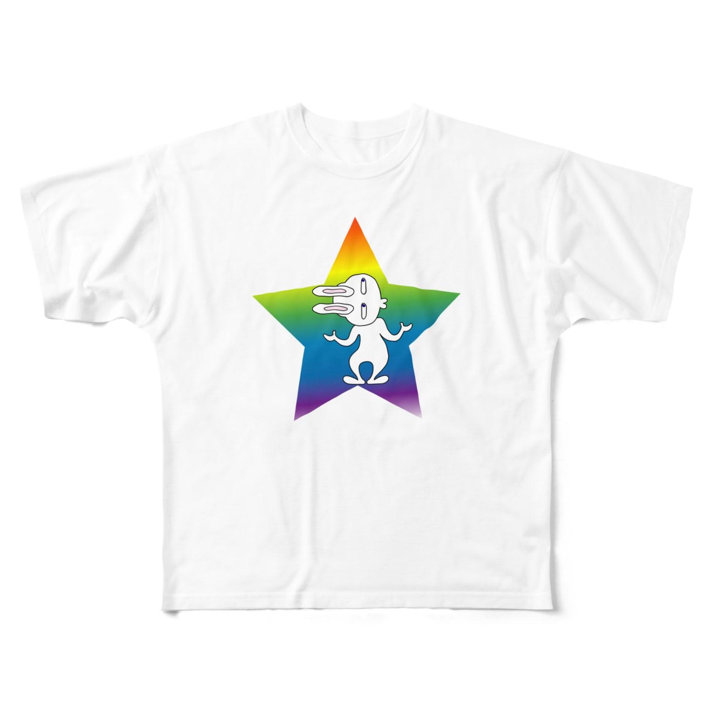 nekotayaのいじけるウサオ  Full graphic T-shirts