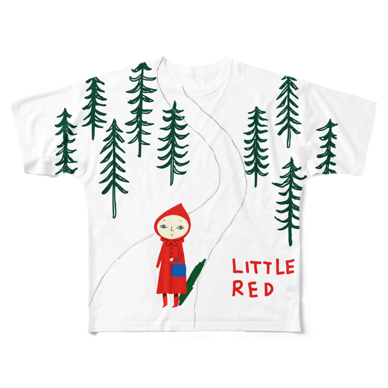 yagiyのRITTLE RED お師匠さん(白地) Full graphic T-shirts