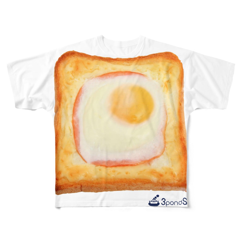 3pondSのエッグトースト Full graphic T-shirts