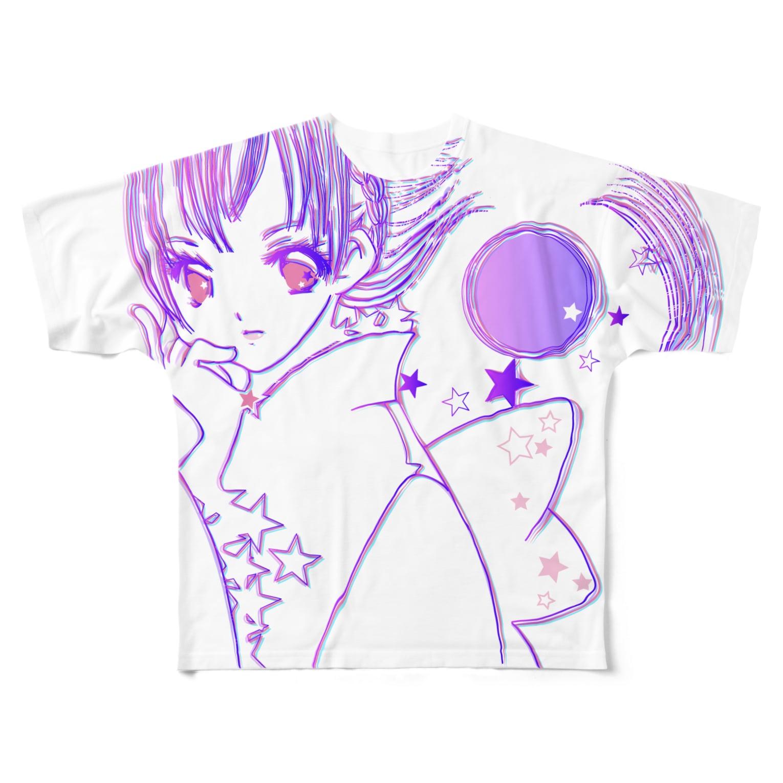 [ E+ ] SHOPのFull moon love フルグラフィックTシャツ