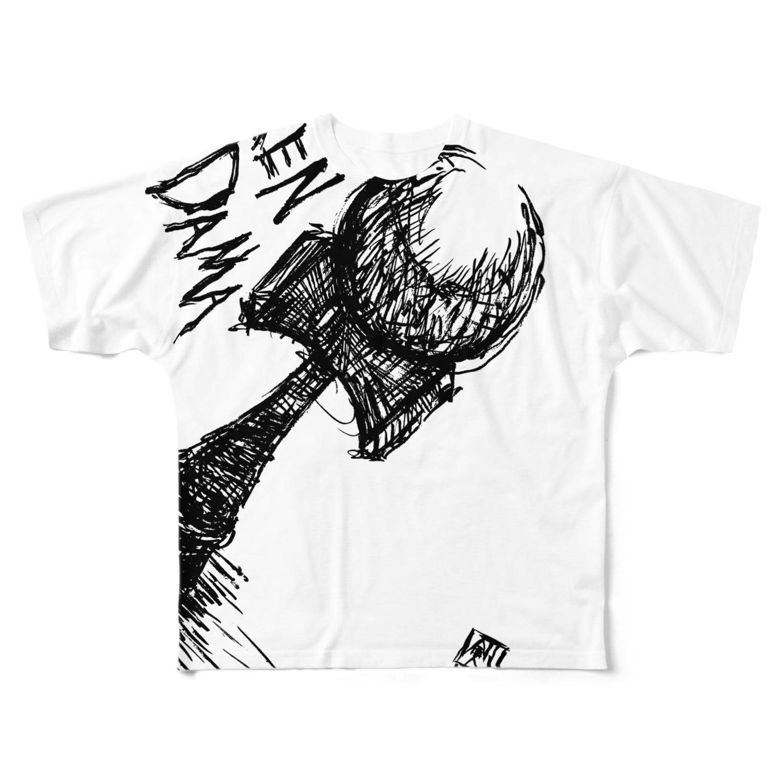 けん玉愛好会(ラブけん)ショップのけん玉筆絵(黒) Full graphic T-shirts