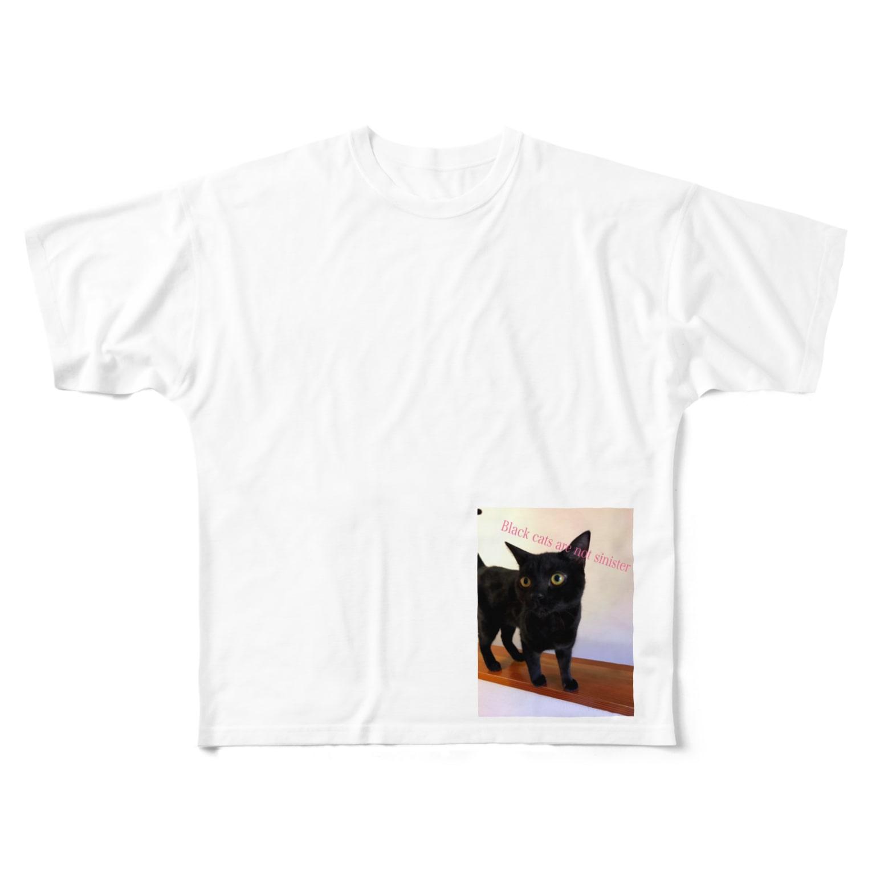leoleoleの黒猫は不吉じゃない Full graphic T-shirts