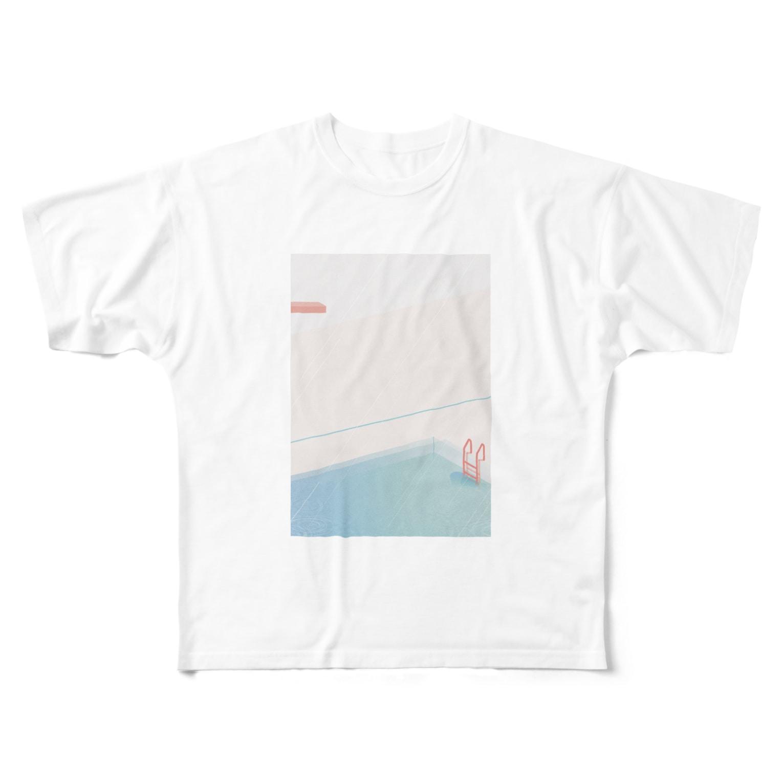 tenpraの雨の日のプール Full graphic T-shirts
