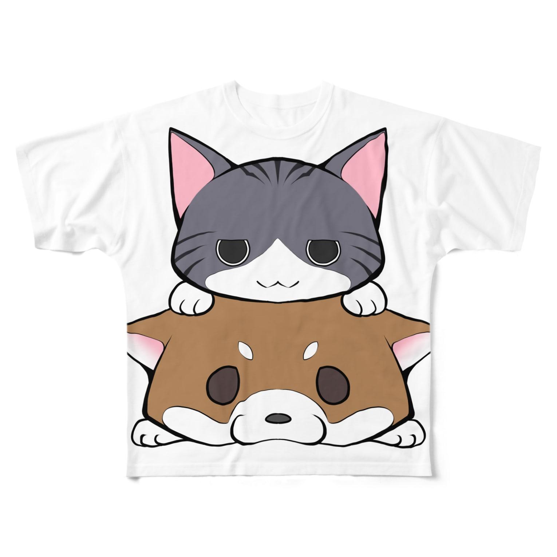スナネコシンドバッド SUZURIキャラバンのしばねこ(胡麻柴) Full graphic T-shirts