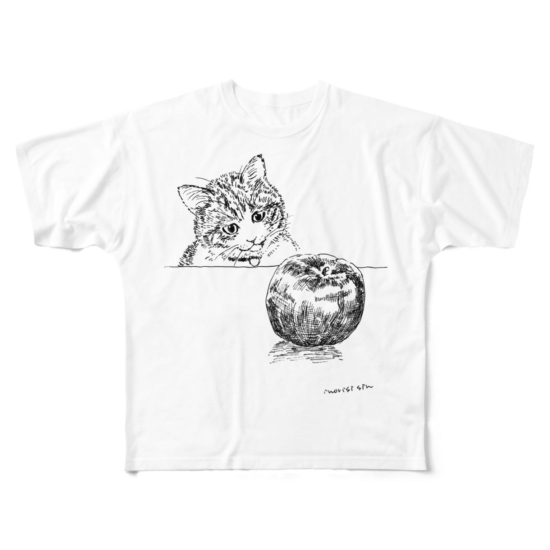 イノリシ シンの猫とりんご Full graphic T-shirts