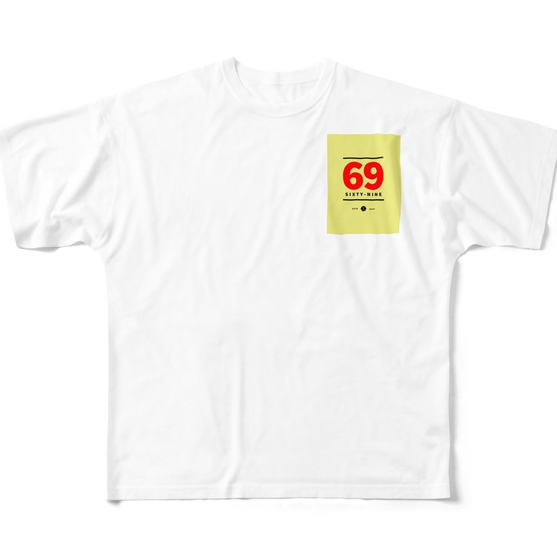 R_GD_trackの69ロゴ Full graphic T-shirts