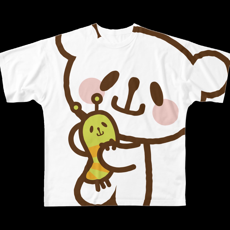 おやまくまオフィシャルWEBSHOP:SUZURI店のなかよしおやまくまとおやまむしフルグラフィックTシャツ