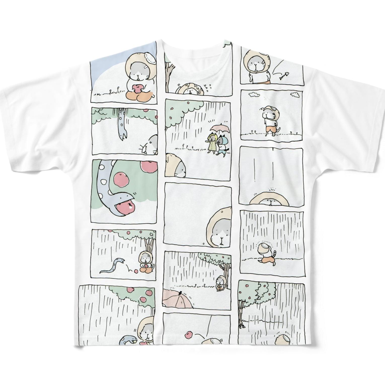ほっかむねこ屋@10/5~10/10 吉祥寺駅 期間限定ショップのねことへびのお話 フルグラフィックTシャツ