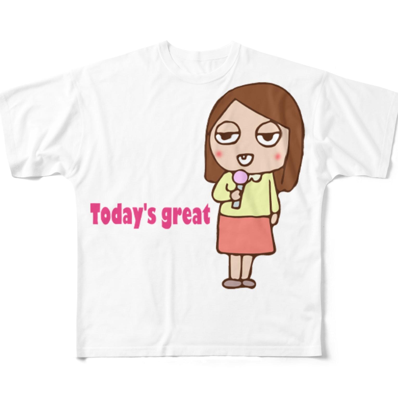 ガウ子ショップのお天気お姉さんありさ フルグラフィックTシャツ