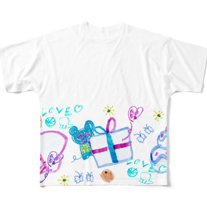 橋本京子のプレゼントのゆめみたの(Karin) フルグラフィックTシャツ