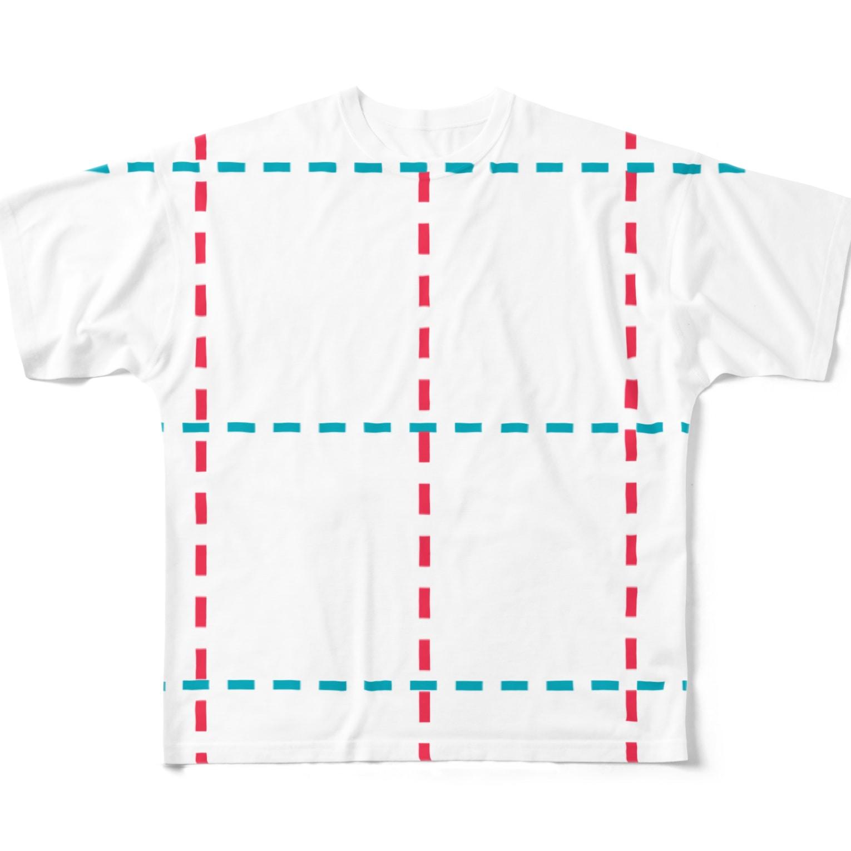 K_Aの点線チェック Full graphic T-shirts