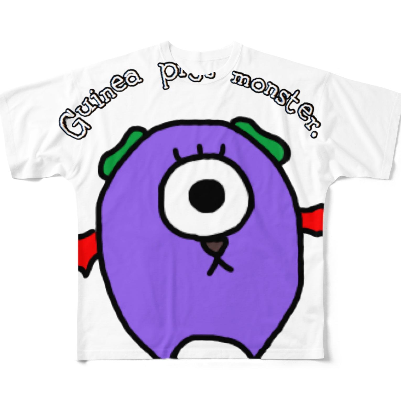 MORPHEUS&もんぺのモルモットのモンスター Full graphic T-shirts