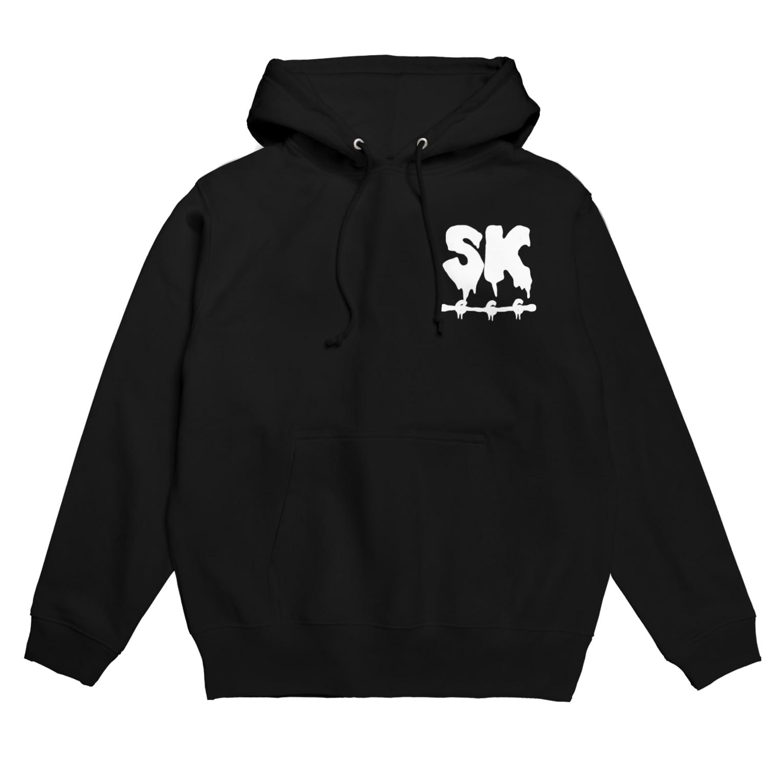 SK Strikethrough(666)のSK Strikethrough(666) Clothing - First Line Black Hoodies