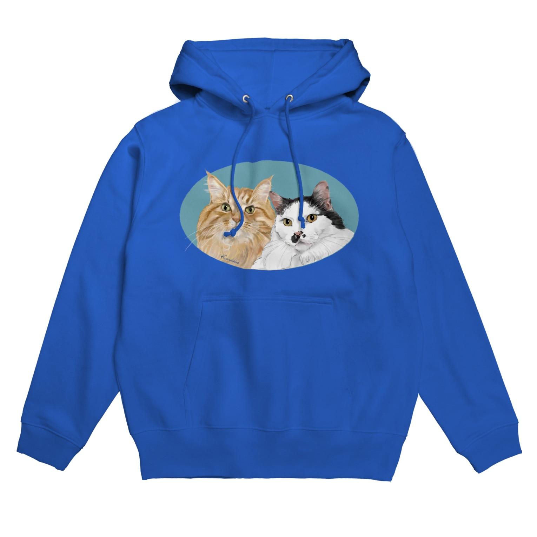 kinako-japanの猫社長さん 猫専務さん 青 Hoodies