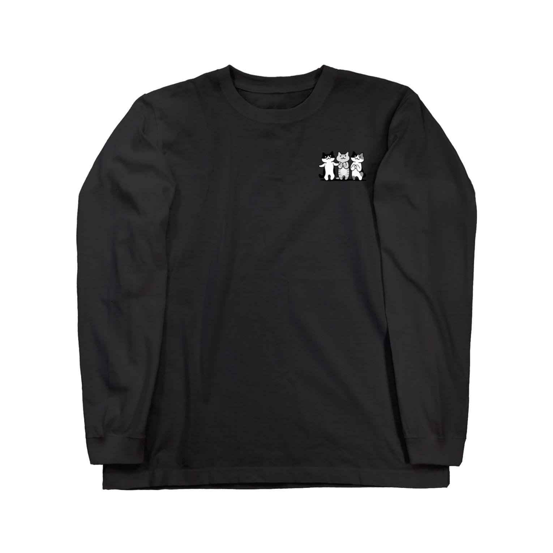 PygmyCat suzuri店の癒してあげ隊(モノクローム) ロングスリーブTシャツ