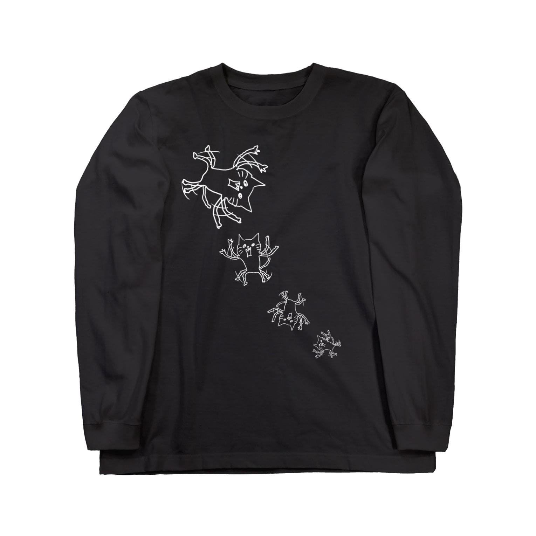 ぼくのあとりえ。のネコです。SPINFLY黒T Version ロングスリーブTシャツ