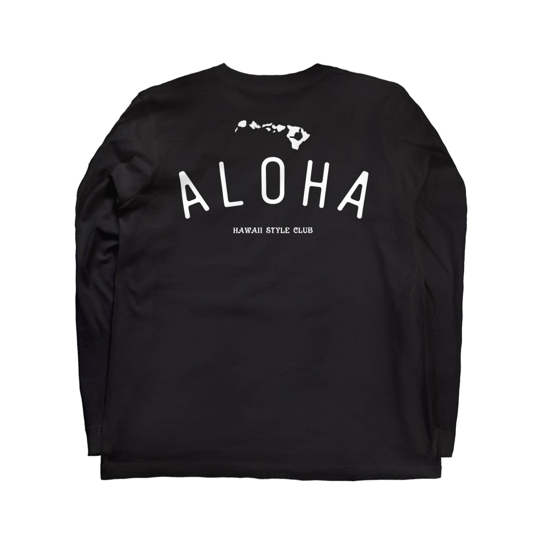 Hawaii Style Clubの〔Back Print〕 ALOHA ISLANDS WHT LOGO Long sleeve T-shirtsの裏面