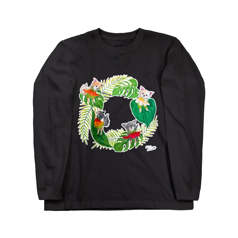 もけけ工房 SUZURI店のチワワーズ Long sleeve T-shirts
