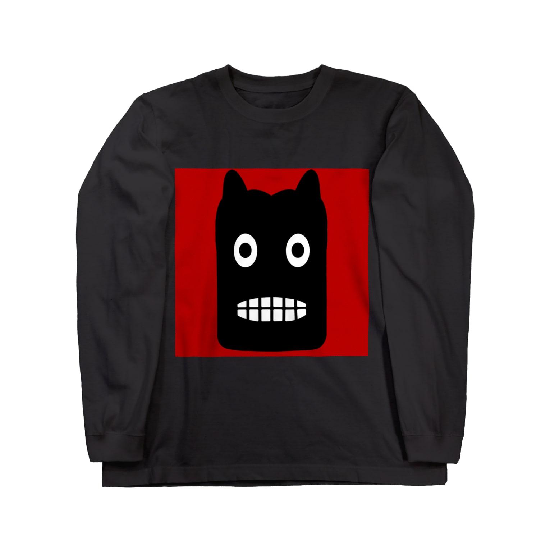 NoraUprise-whiteの【 黒鬼: Black demon 】 Long sleeve T-shirts