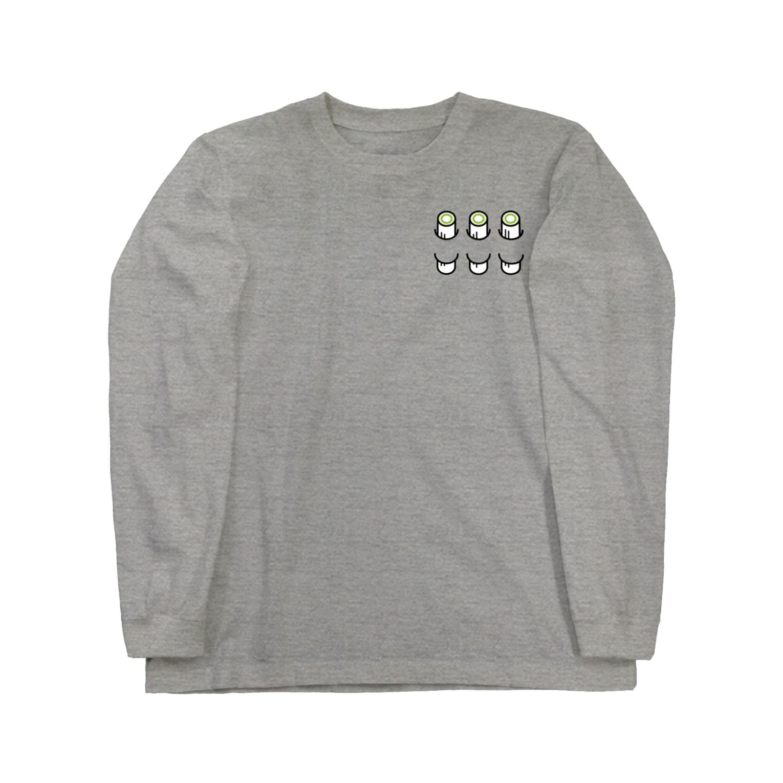 PokuStarの胸にネギのぶつ切り Long sleeve T-shirts