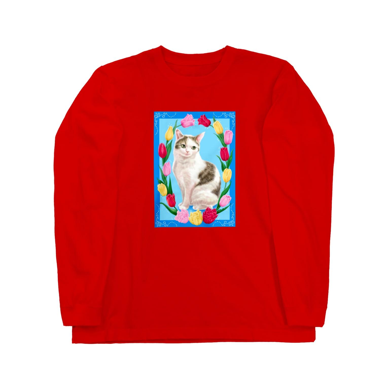 Atelier Heureuxのチューリップと猫 Long sleeve T-shirts