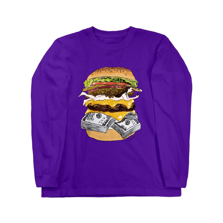 IN-SHOCKのハンバーガー Long sleeve T-shirts