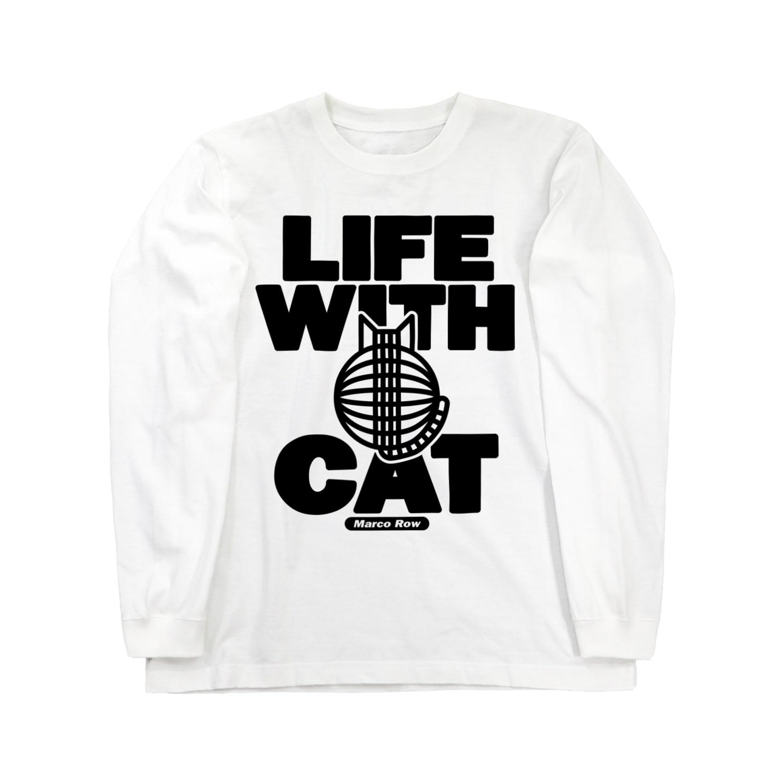 SHOP W SUZURI店のLIFE WITH a CAT ロングスリーブTシャツ ロングスリーブTシャツ