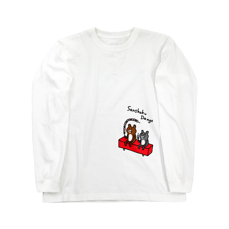 PokuStarのロング三色団子 ロングスリーブTシャツ