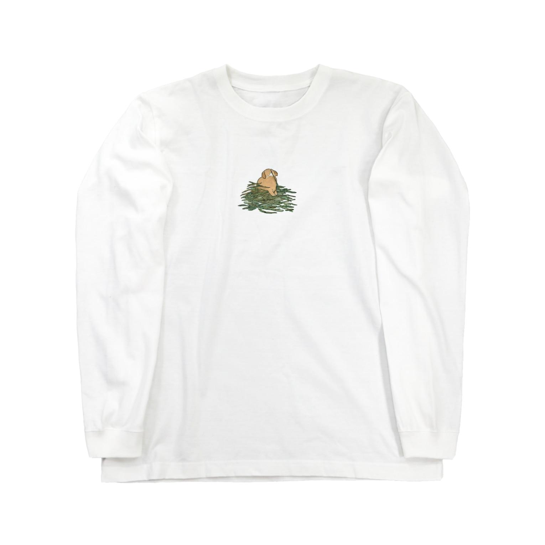 SCHINAKO'Sのチモシーに埋もれるうさぎさん オレンジロップ Long sleeve T-shirts