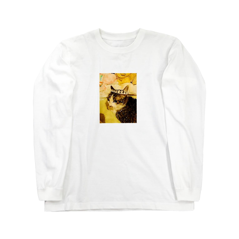 ponpokotoraのハチマキネコ Long sleeve T-shirts