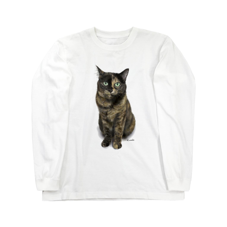kinako-japanのサビ猫のキューちゃん 背景白 Long sleeve T-shirts