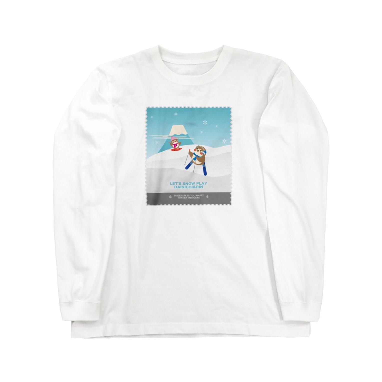 aliveONLINE SUZURI店のHello! すずめだいきち Long sleeve T-shirts
