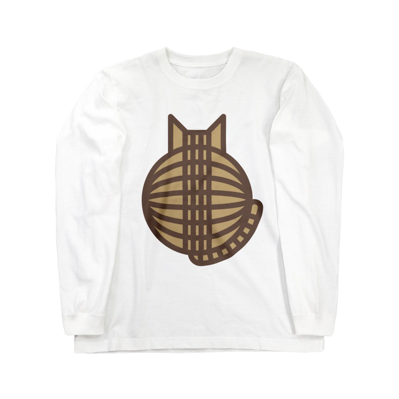 SHOP W SUZURI店の猫の丸い背中(キジトラ) ロングスリーブTシャツ Long sleeve T-shirts
