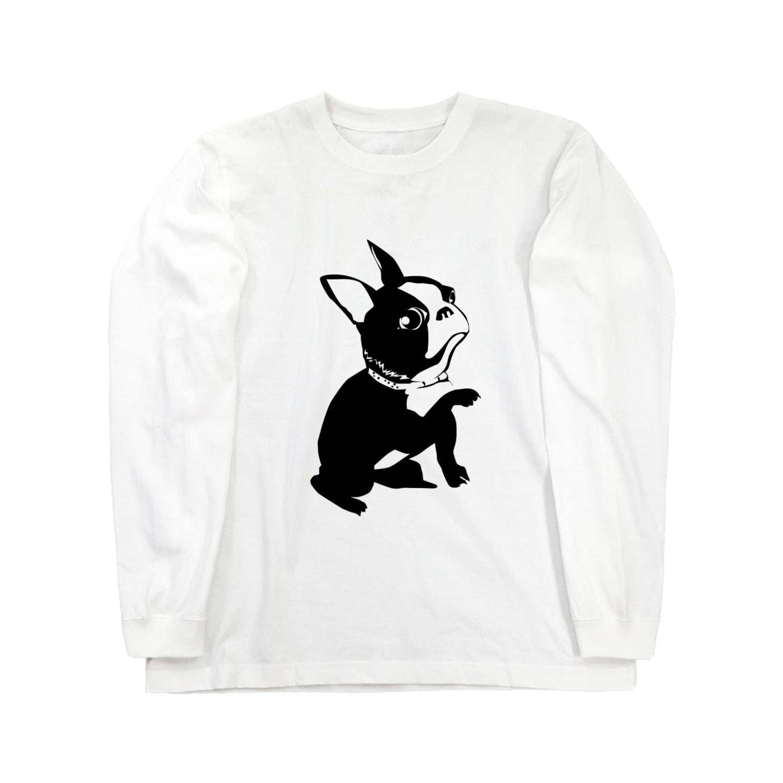 chicodeza by suzuriのお手をするフレンチブルドッグシンプル画 Long sleeve T-shirts