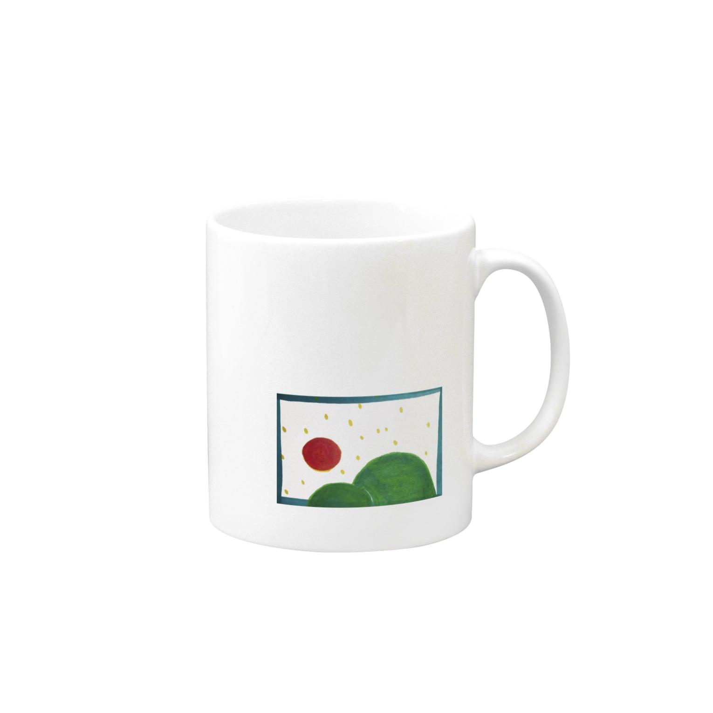 晴田書店のお山と太陽 マグカップ