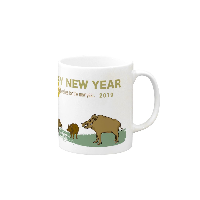 ジルトチッチのデザインボックスの2019亥年の猪のイラスト年賀状イノシシ Mugs