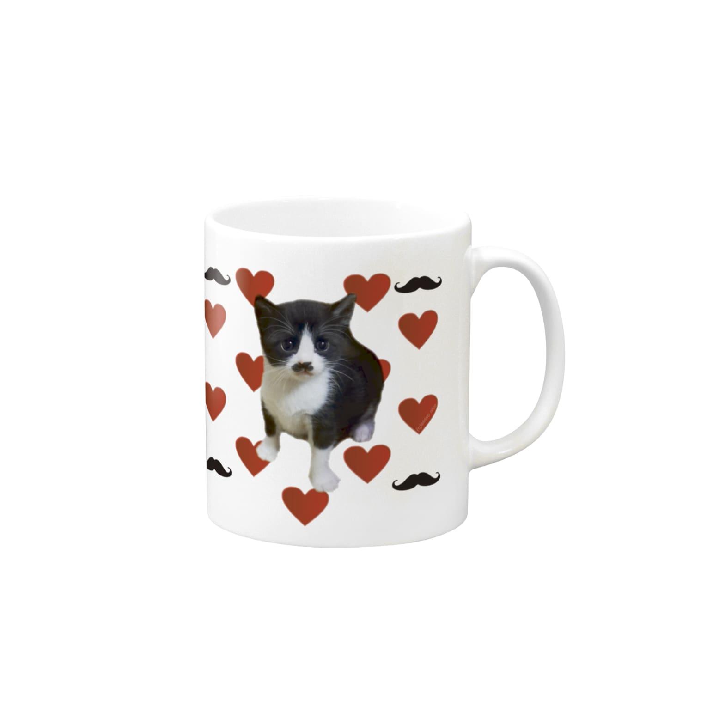 保護猫活動家すみパンさん家への支援グッズ!のNo.11 限定5個! ヒゲレモンちゃんグッズ♪ Mugs
